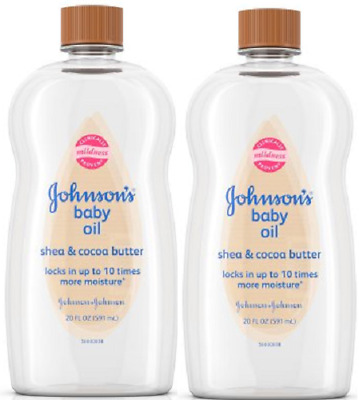 Johnson's Baby Oil With Shea & Cocoa Butter For Dry Skin, 20 Fl. Oz.( 2 Pack)