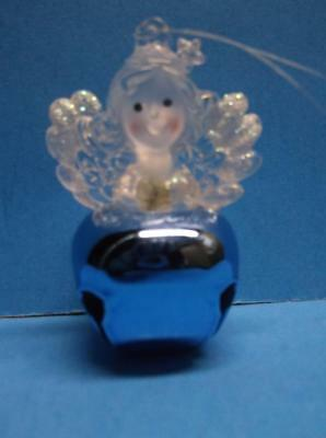 Jingle Bell Angel Christmas Ornament Blue Lucite Plastic Acrylic Frosted Glitter