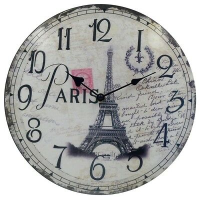 Wall Clocks Decoration Living Room Vintage Wooden Silent French Round Eiffel NEW