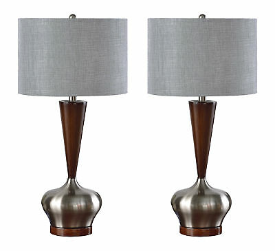 Kings Brand Brushed Nickel / Walnut With Silver Shade Table Lamps, Set of 2