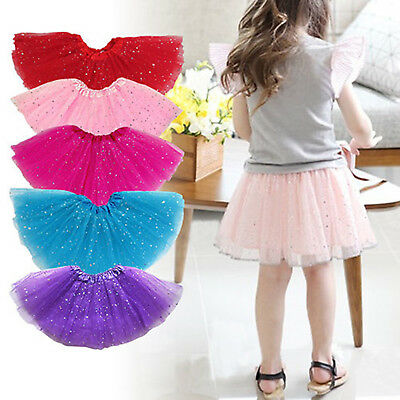 Princess Tutu Skirt Girls Kids Party Ballet Dance Wear Stars Dress Pettiskirt GW