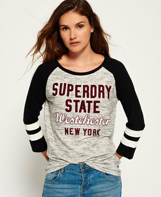 New Womens Superdry Football Applique Top Canyon Grey Marl