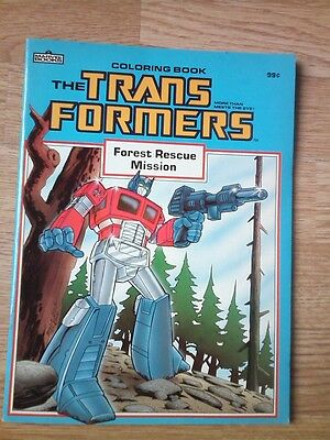 """Transformers Coloring Book (1985) """"forest Rescue Mission"""" Marvel Books"""