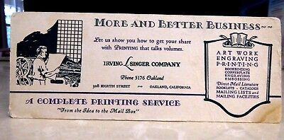 1930's Irving Singer Co. Oakland CA Printer Engraver Art Work Blotter