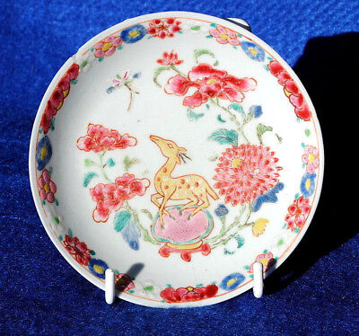 18Thc Antique Chinese Famille Rose Dish With Hand Painted Reindeer And Flowers