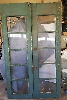Pair Wood Glass Pane Doors Vintage Architectural Salvage French Entrance