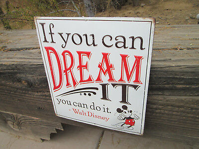 Walt Disney MICKEY MOUSE DREAM IT Embossed Metal Sign Vintage Cool Look Quality