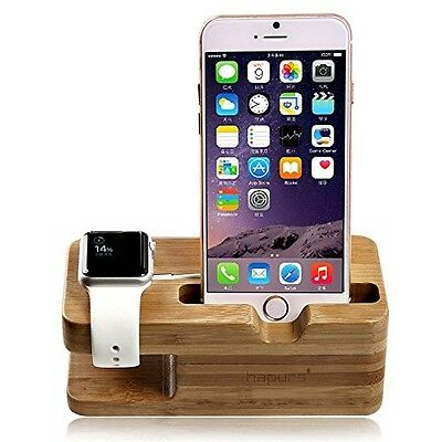 Apple Watch Wood Stand Bamboo iPhone Charging Dock Station Cradle Desktop Holder