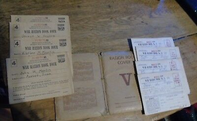 Vintage WW2 War Rations Books 10 total #3 & #4 most stamps book Cover Oelwein IA