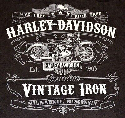 Discounted Harley-Davidson Men's Sweater, Great Vintage Iron Design in Black!!
