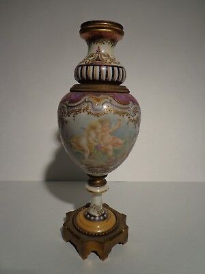 Antique Porcelain Covered Urn with Angel Cherubs