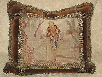 VICTORIAN 19TH C NEEDLEPOINT TAPESTRY FIGURAL PILLOW w METALLIC TRIM