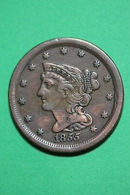 1855 Braided Hair Half Cent Exact Coin Pictured Flat Rate Shipping OCE03