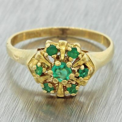 1970s Vintage Estate 18k Solid Yellow Gold .28ctw Emerald Cluster Ring