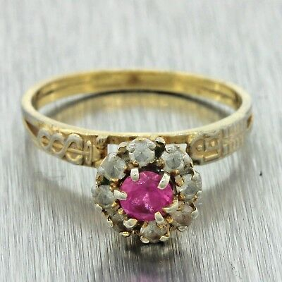 1930s Antique Art Deco 14k Solid Yellow Gold .25ct Ruby .30ctw Sapphire Ring Z9