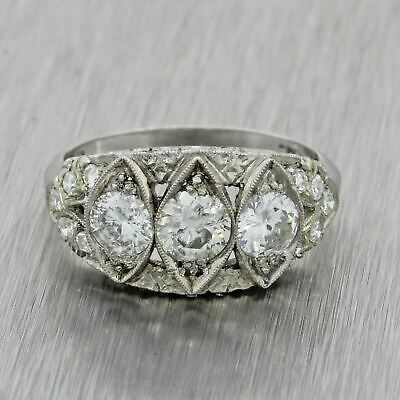 1920s Antique Art Deco Solid Platinum 1.69ctw Old European Diamond Ring EGL