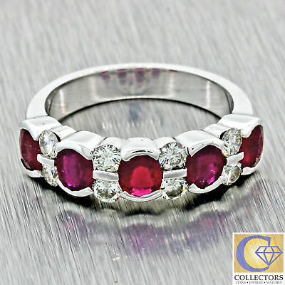 Vintage Estate 18k Solid White Gold 1.20ct Ruby Diamond 5mm Wide Band Ring