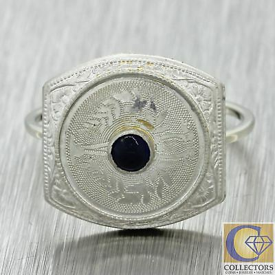 1920s Antique Art Deco Estate 14k Solid White Gold Platinum Top Sapphire Ring