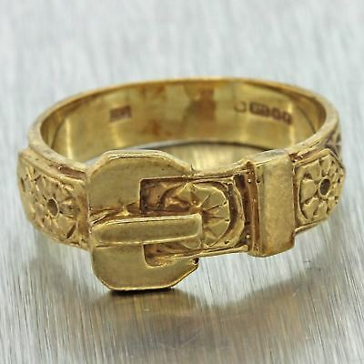 1940s Antique Vintage Estate 9ct Solid Yellow Gold English Belt Buckle Ring