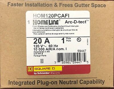 Lot Of 10 Square D Homeline Hom120Pcafi Arc-Fault Combo 20A  Plug In New