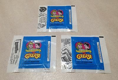 """1978 Topps """"Grease - Series 2"""" - All 3 Wax Pack Wrapper Variations"""