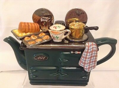 Teapottery Swineside Novelty Collectable Teapot Green Aga Roast Great Condition