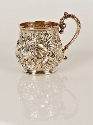 """Stieff Sterling Silver Repousse Baby's Cup, 106.6g 3 2/4"""" from Anne Anka Estate"""