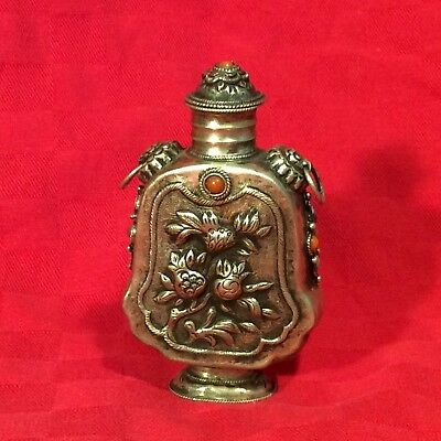 Vintage Chinese Silver Snuff Bottle with Turquoise and Carnilian Embelishment