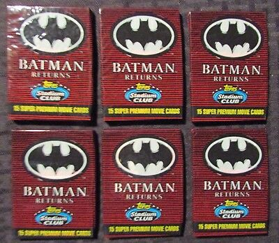 1991 BATMAN RETURNS Topps Trading Cards 6 Sealed Packs