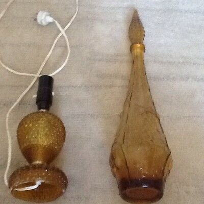 Vintage Retro Genie Bottle Amber Glass 1960s/70s With A Matching Lamp Rare Item