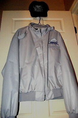 TWO ITEMS ENRON Lined Silver JACKET XXL & black ADUSTABLE CAP. SEE MEASUREMENTS