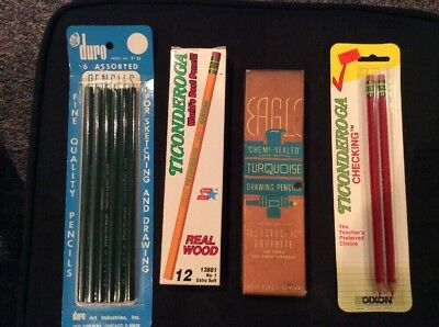 Large Lot Vintage Drawing Pencils, Eagle Chemi Sealed, Ticonderoga Ethan Allen