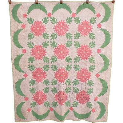 SPARKLING FINE star swagged MA cutwork APPLIQUE antique RED & GREEN quilt 7-9spi