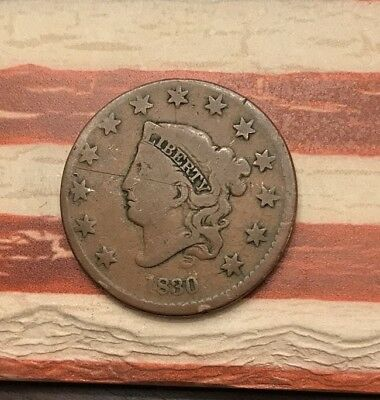 1830 1C Coronet Head Large Cent Vintage US Copper Coin #NV104 Nice Looker