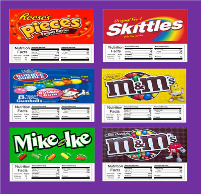 6 VENDSTAR  VENDING MACHINE CANDY STICKERS LABEL  with NUTRITION Free Shipping