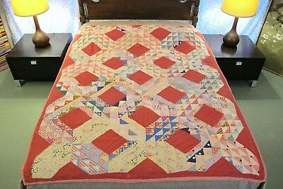 """Vintage ANTIQUE Feed Sack & Cheese Cloth Hand Sewn OCEAN WAVES QUILT; 72"""" x 60"""""""