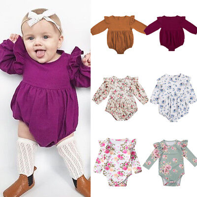 AU Stock Newborn Baby Girls Kids Button Butterfly Sleeve Romper Outfits Jumpsuit