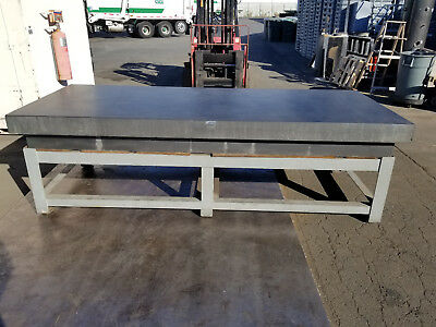 """120"""" x 48"""" x 12"""" Thick Black Granite Surface Plate – 4 Ledge - w/ Table Stand"""