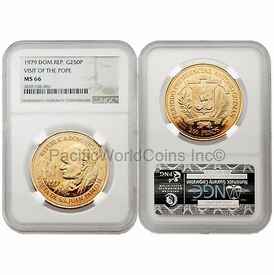Dominican Republic 1979 Visit of the Pope 250 Peso Gold NGC MS66 SKU#6454