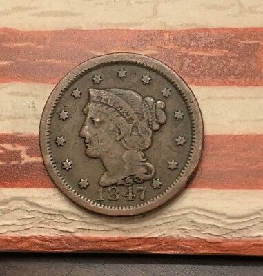 1847 1C Braided Hair Large Cent Vintage US Copper Coin #NV111 Very Sharp Appeal