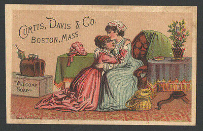 Victorian Trade Card HOME for a Visit Curtis Davis &Co WELCOME SOAP Boston, Mass