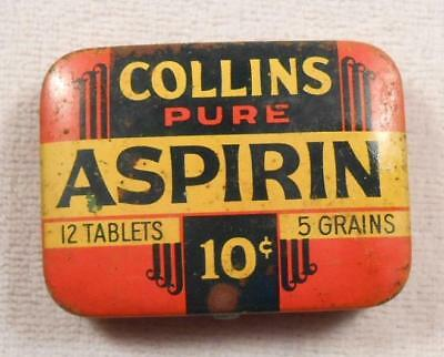 Vintage Medicine Tin - Collins Pure Aspirin - Clyde Collins Co - Memphis, TN