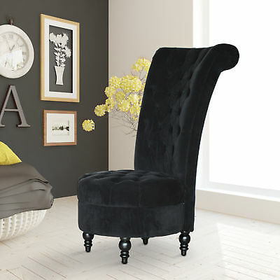 "45"" Tufted High Back Velvet Accent Chair Living Room Soft Padded Couch Lounge BK"