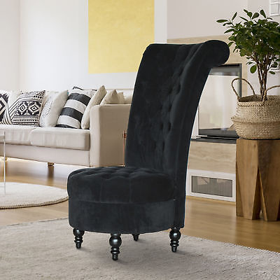 "HOMCOM 45"" Tufted High Back Velvet Accent Chair Living Room Soft Couch Black"