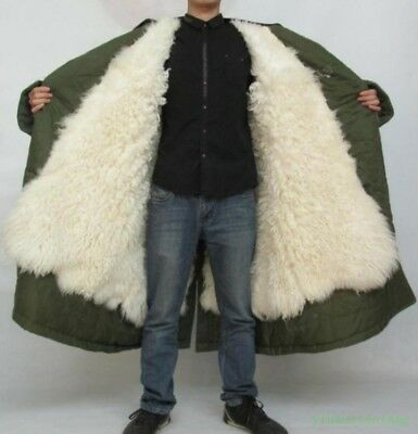 Winter Men Lamb Fur Lining Thick Parka MIlitary Outwear Jacket Coat Army Green