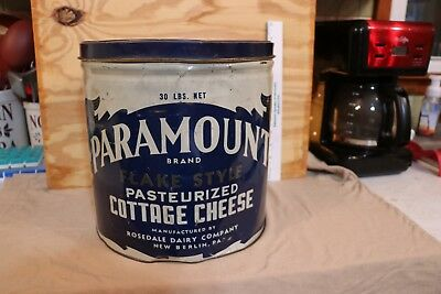 Big Vintage Paramount Cottage Cheese Tin Rosedale Dairy