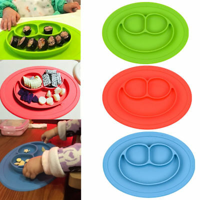 Cute Silicone Happy Mat Baby Kids Suction Table Food Tray Placemat Plate Toddler