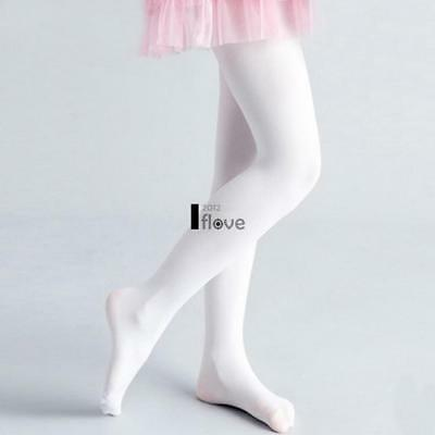 Childrens Full Footed Ballet Dance Tights in Pink,Nude,Black,White Microfibre