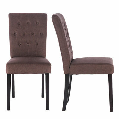 Set of 2 Fabric Dining Chair Armless Accent Tufted Upholstered w/Solid Wood Legs