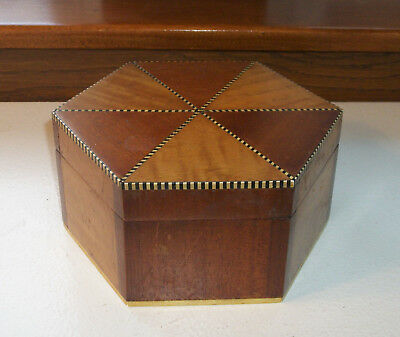 Wooden Inlaid Sewing Box – Hexagon with inlaid ribbon  Circa 1890s